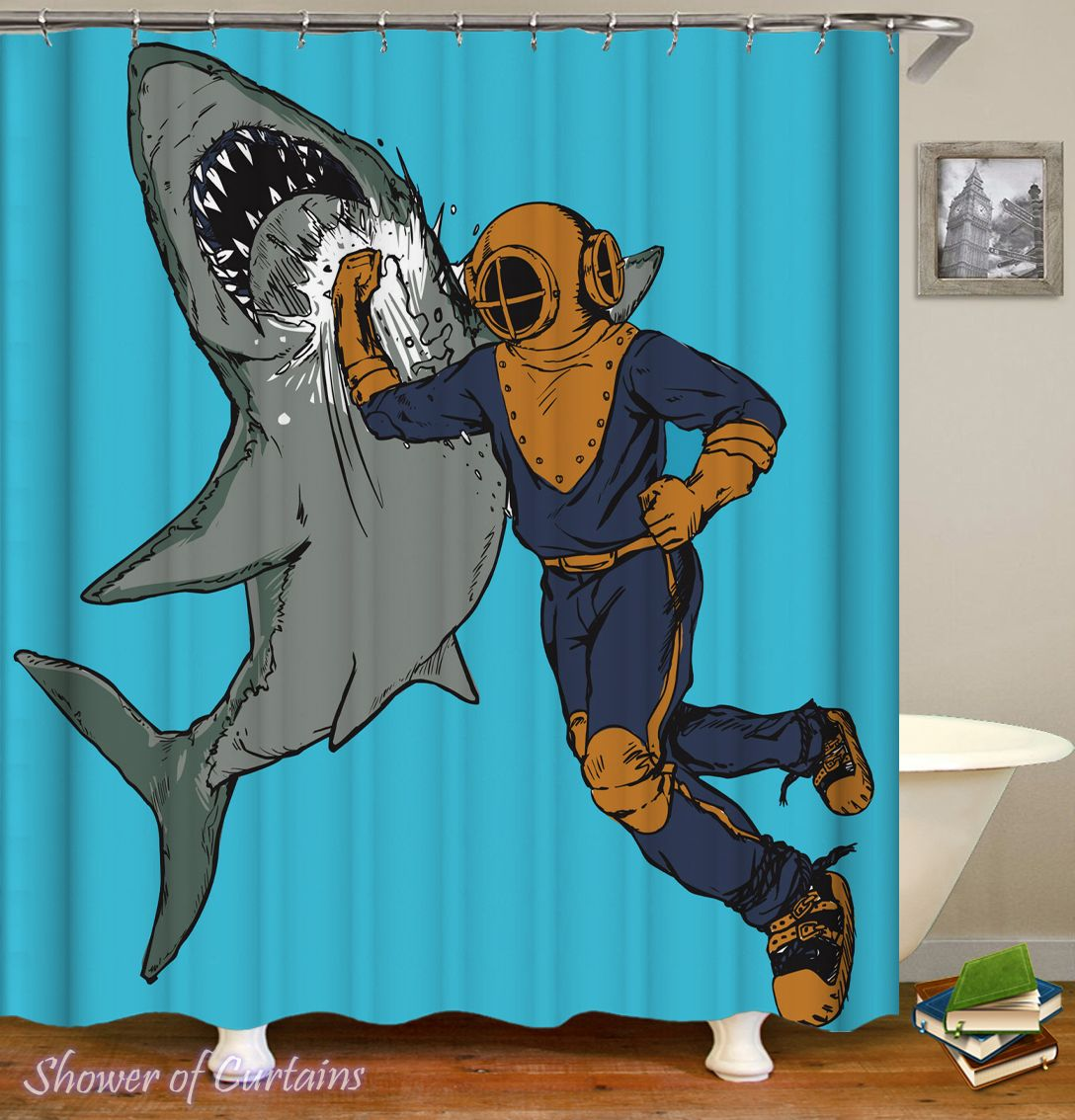 Scuba Diver Hitting A Shark Shower Curtain - HXTC0161