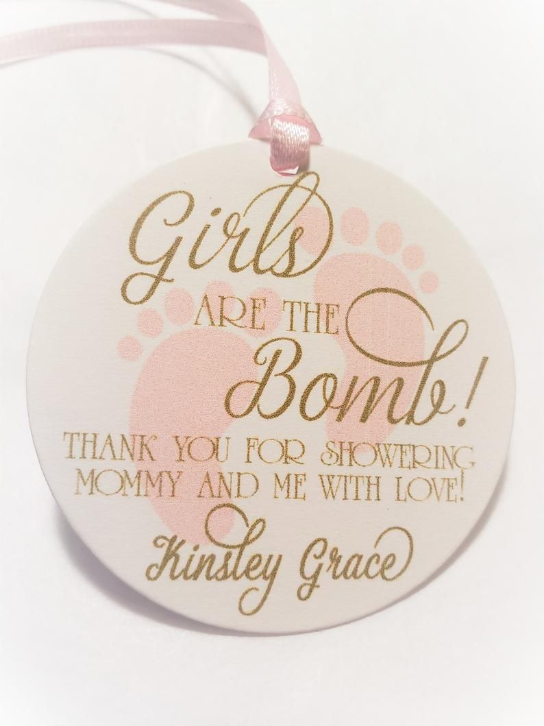 Girls Are The Bomb Baby Shower Favor Tags For Girls Pink