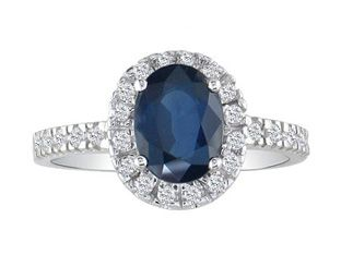 Classic Oval Cut Sapphire Diamond 14K White Gold Ring Available Exclusively at Gemologica.com