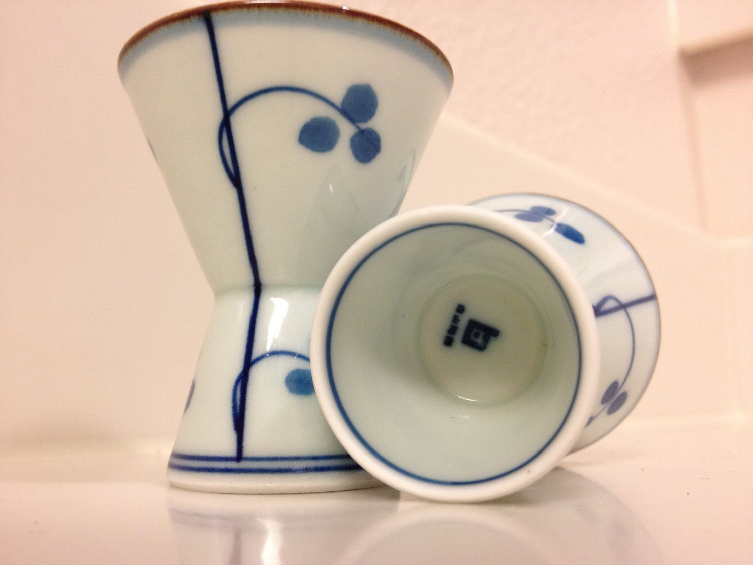 Vintage White And Blue Sake Cup Set Of Two