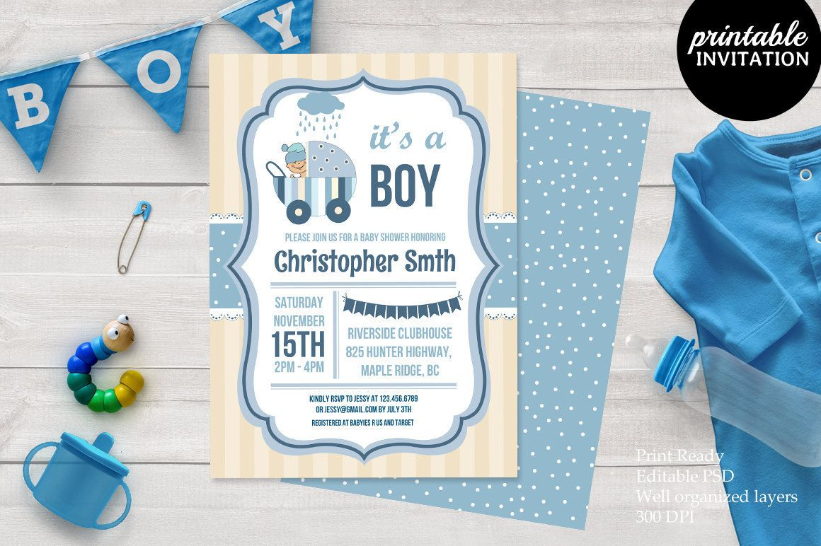 Printable Baby Shower Invitation Template Psd Baby Shower Invitation