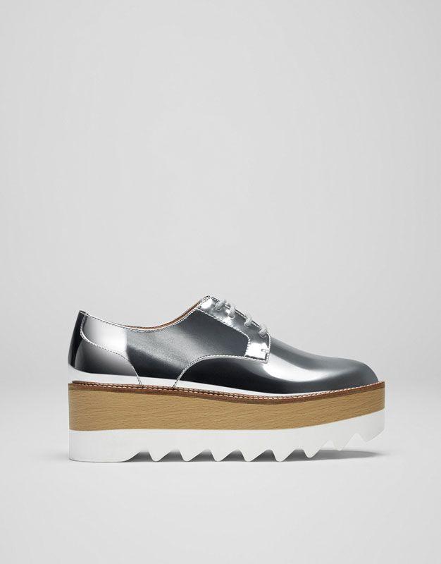 b2b8f2e3b64 Pull Bear - mujer - calzado - ver todo - blucher plataforma - plata -  11195211-V2017