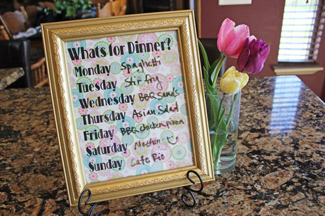 DIY What's For Dinner Dry Erase Board with Free Printable