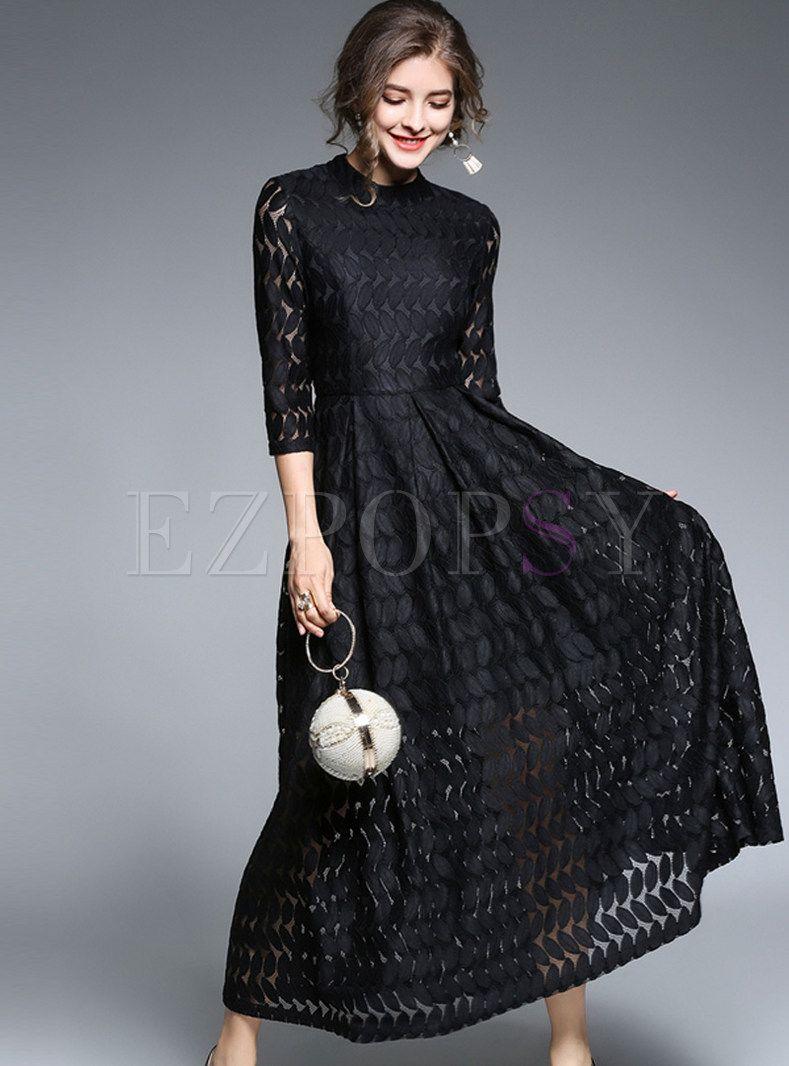 Black Lace Dress Summer Women Evening Party Lace Hollow Dresses Round Neck Gown