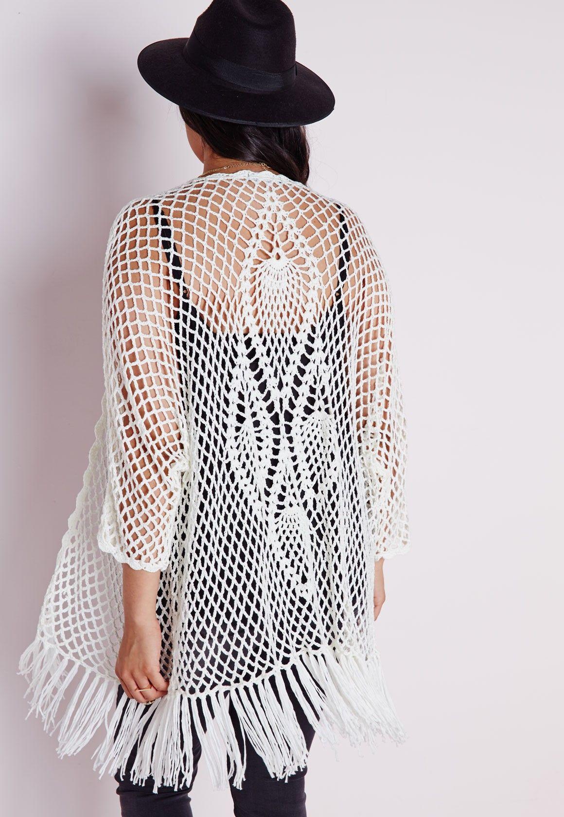 Plus Size Fishnet Crochet Cardigan White | Blusas y Tejido