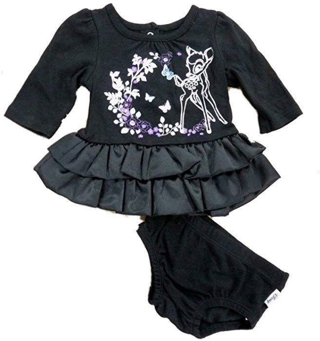 d6cbddf49f6be Amazon.com: Disney Infant Girl Bambi Black Satin Long Sleeved Ruffled Deer Dress  Outfit 6-9m: Clothing