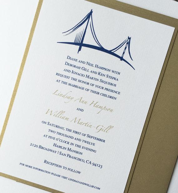San Francisco Golden Gate Bridge Wedding Invitation Cityscape Invitations Elegant Urban