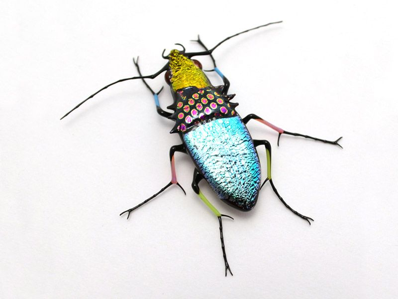 Gypsy Patchwork Jewel Beetle, glass gypsy patchwork beetle by Wesley Fleming