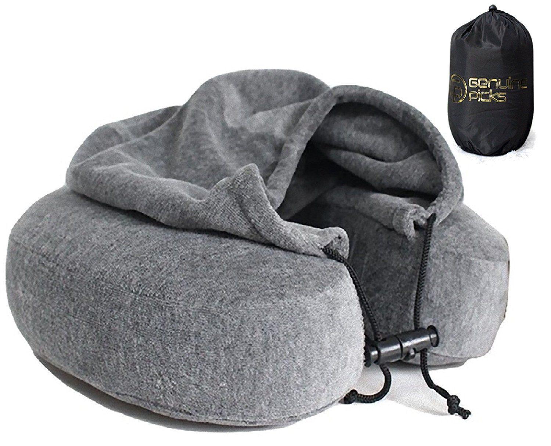 Amazon luxury memory foam neck pillow with hoodie velvet