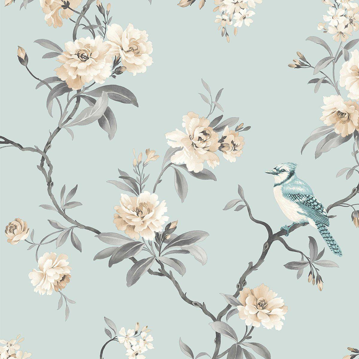 Chinoiserie Blue Floral Wallpaper Blue Floral Wallpaper Floral