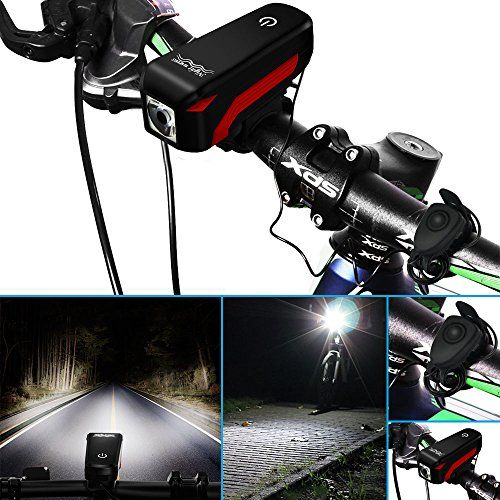 USB Rechargeable MTB Bike LED Front Light Bicycle Warning Lamp Torch Speaker