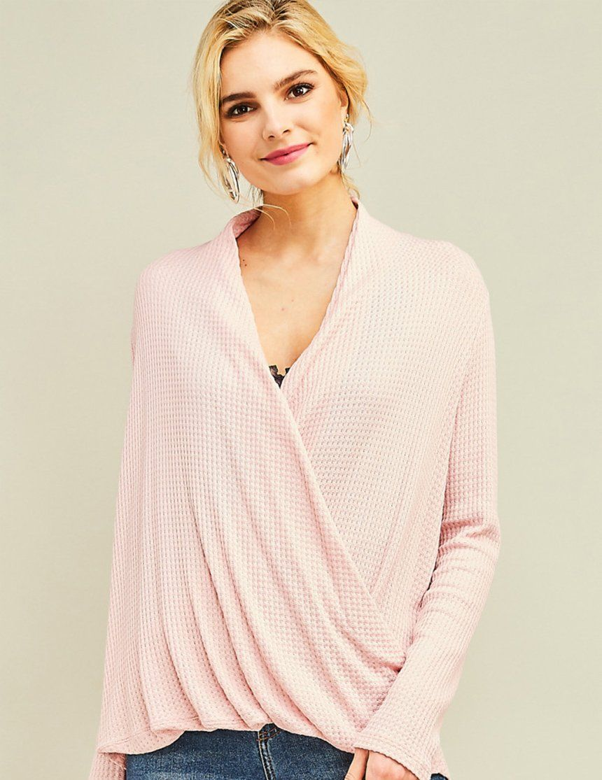 c43b8b3eeb736 A soft pink waffle-knit nursing friendly surplice top featuring long  sleeves and a draped v-neckline. Non-sheer and lightweight, perfect for  spring ...