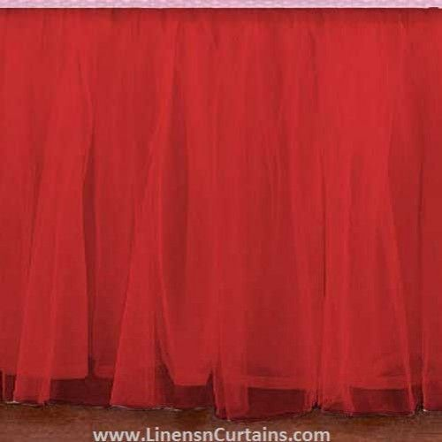 Any Size Red Tulle Bed Skirt Dust Ruffle Velcro Detachable Queen Full Twin Xl Cal King Daybed Extra Long Split Corner Tulle Crib Skirts Crib Skirts Tulle Bedskirt