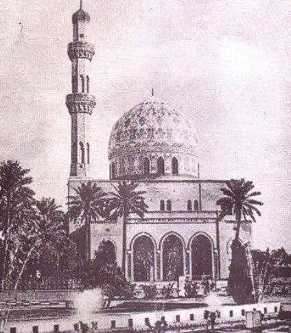 جامع 14 رمضان شارع السعدون ساحة الفردوس الصورة الثانية عند افتتاحه في عام 1963 وضع حجر الاساس للجامع على نفقة الأوقاف في عهد Baghdad Taj Mahal Building