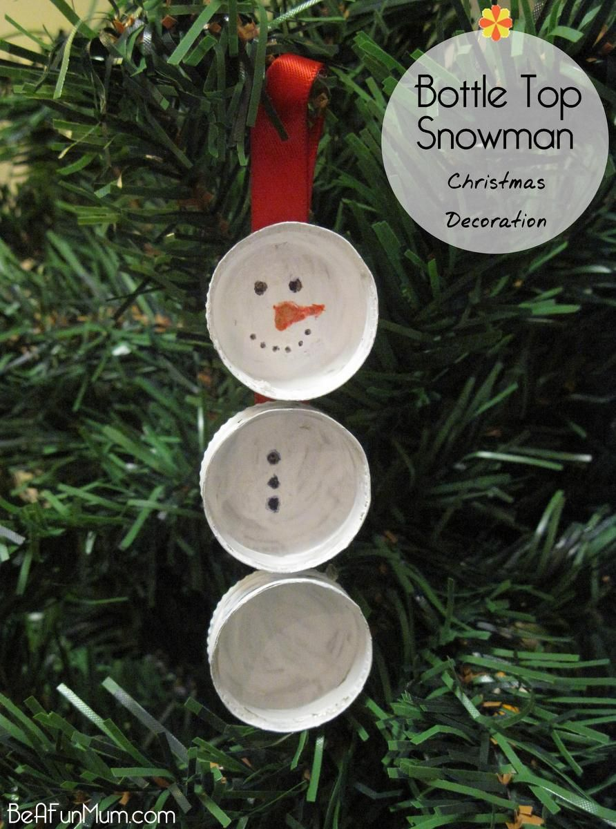 Christmas decorations ideas for kids - Bottle Top Snowmen Cheap And Fun Classroom Craft For The Holidays Family Christmas Tree Ornament