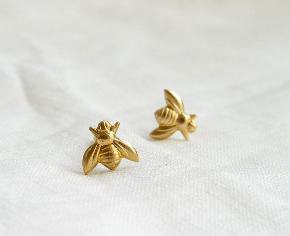 Y Tiny Gold Bee Earrings Stud Simple Modern Jewelry By Peblue