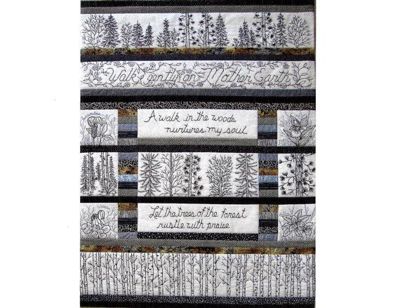 Woodland Walk in Black and White Quilt Pattern - 12 Hand ... : hand embroidery quilt patterns - Adamdwight.com