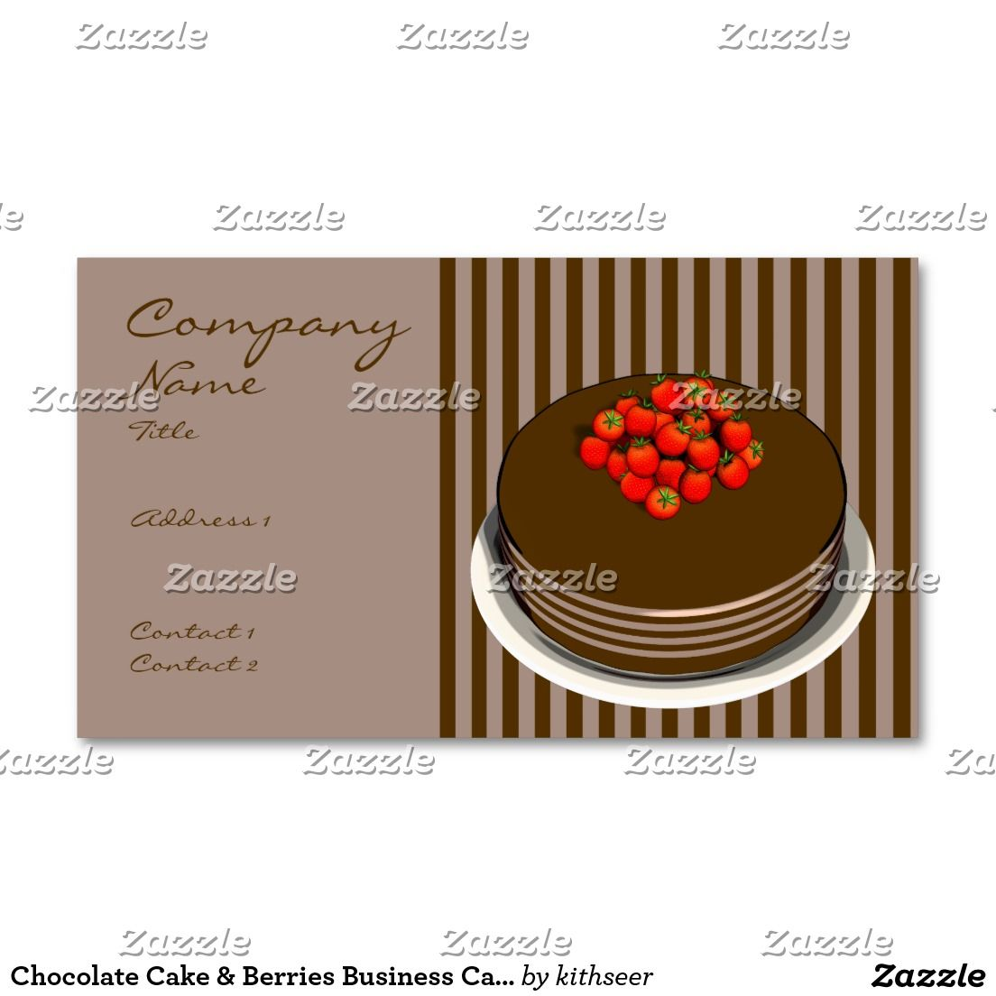 Chocolate Cake & Berries Business Cards   Business Card Templates ...