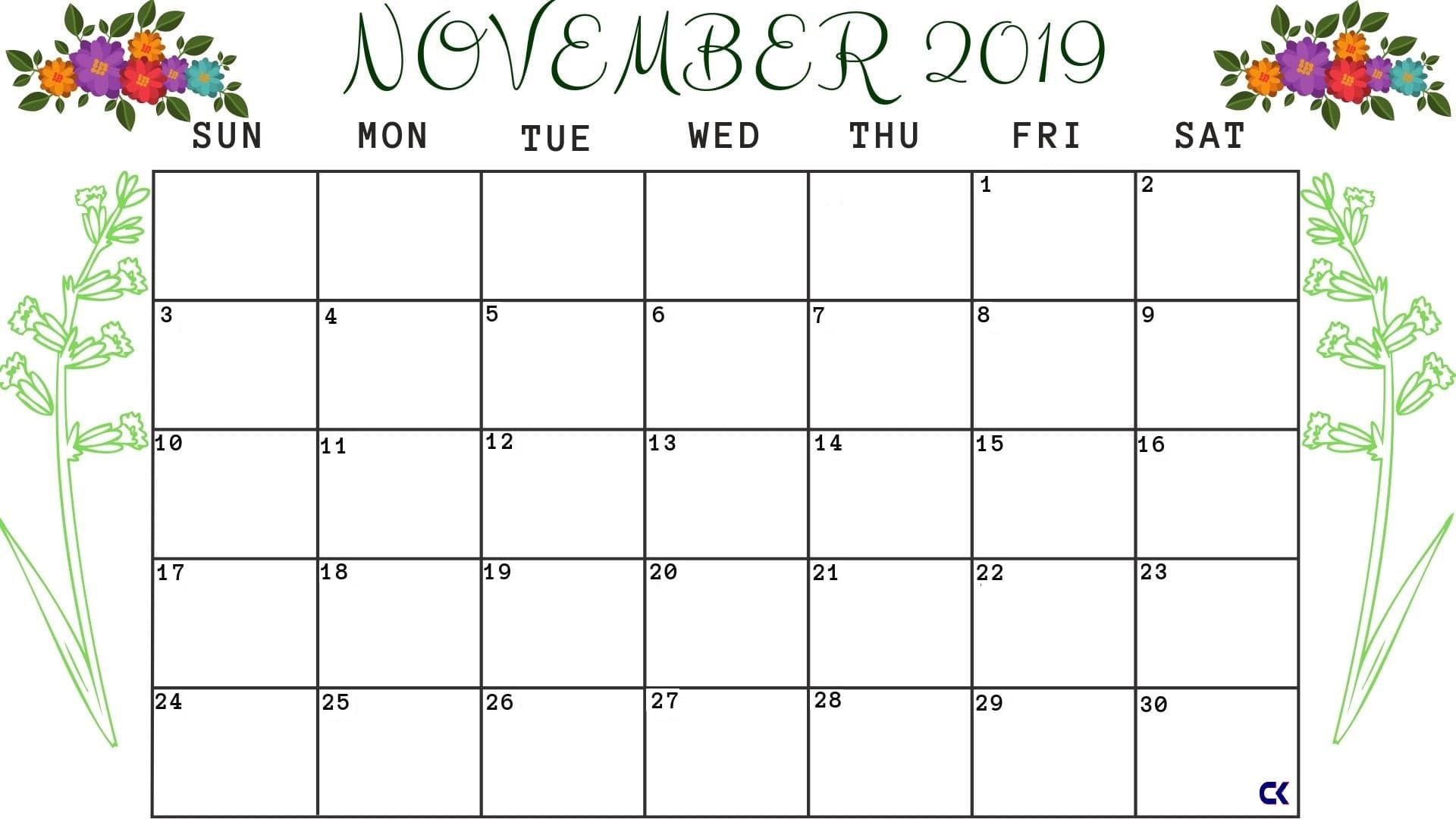 Printable November Calendar Worksheet