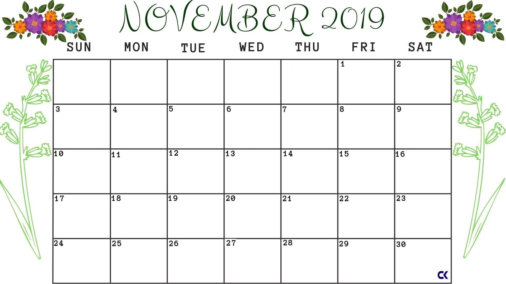 Printable November Calendar Worksheet