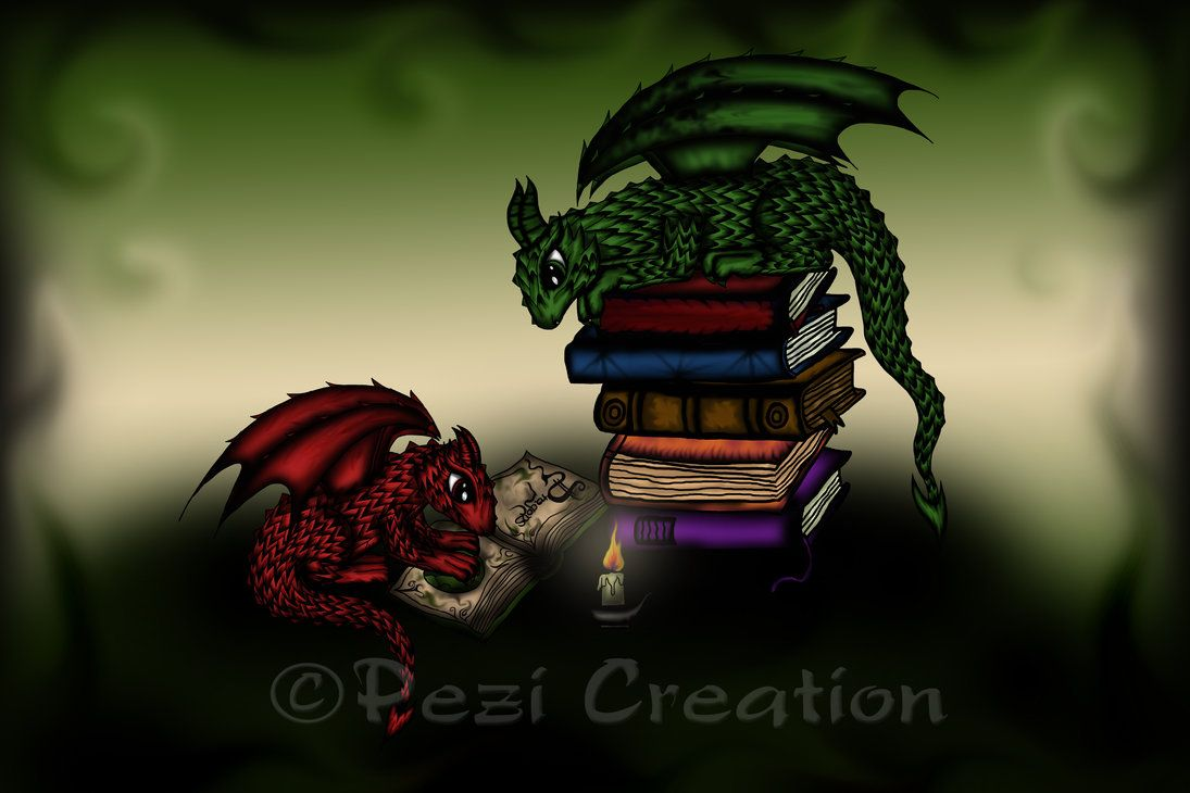 Dragons in Library by PeziCreation