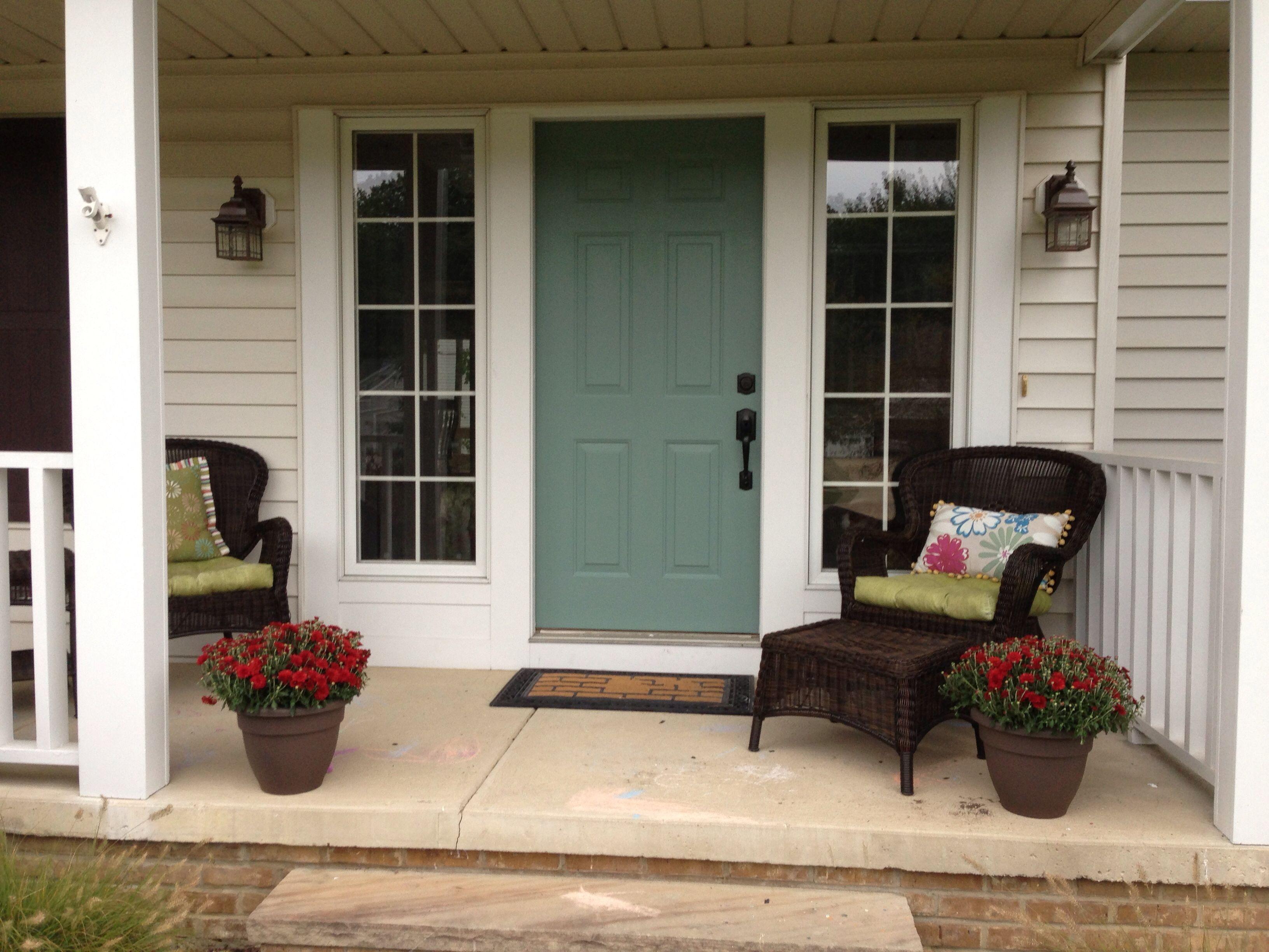 Blue front door sherwin williams underseas one darker for Blue green front door