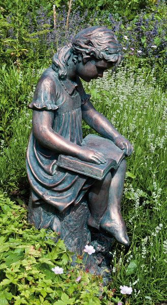 Superieur Garden Statue / Sculpture Of A Young Girl Sitting Legs Crossed, On A Stump  With A Book In Her Lap. Finished In A Weathered Bronze Effect.