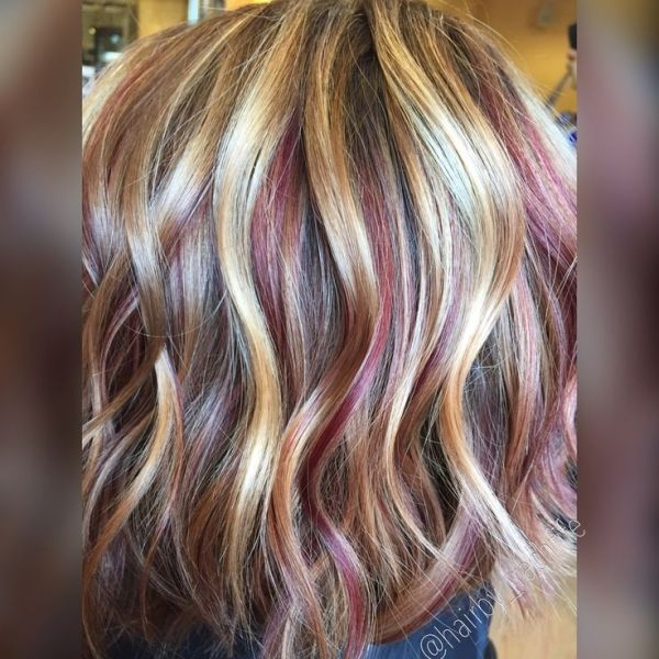Blonde Highlights And Red Copper Lowlights Fall Haircolor Hair By