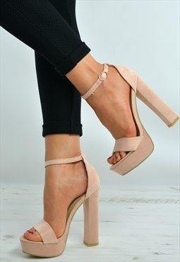 71e0fe35585 Pink Ankle Strap High Block Heel Sandals Platforms Shoes
