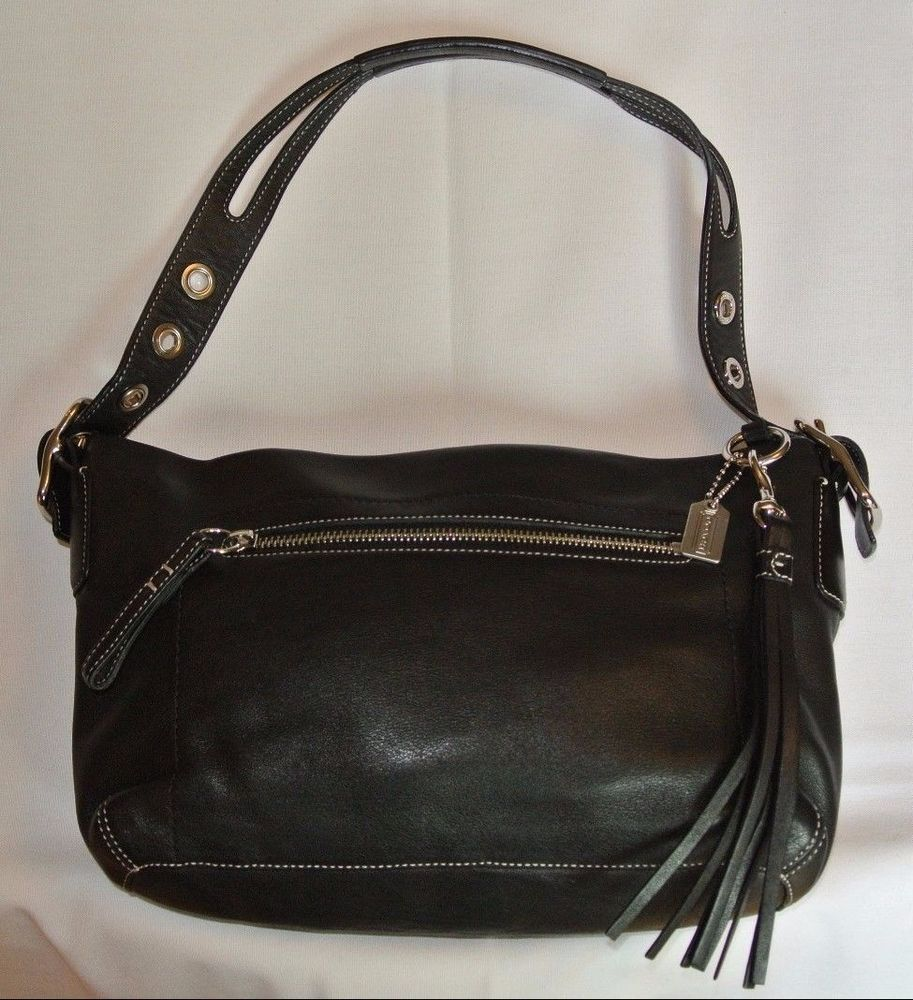 COACH Black Leather Purse Shoulder Handbag Medium w ...