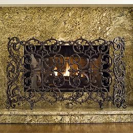 Tuscany Fireplace Screen With Straight Top Frontgate Custom Fireplace Screens Cast Iron Fireplace Fireplace Screens