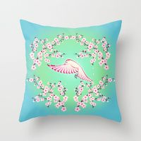 Throw Pillows by Nina Baydur | Society6 #cherry blossom#bird#pink#green#pillow
