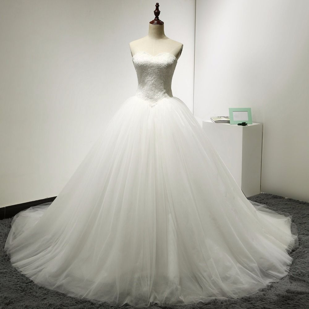 Ball gowns wedding dresses  Latest Designs Real Photos  Sweetheart Ball Gowns Tulle Ivory