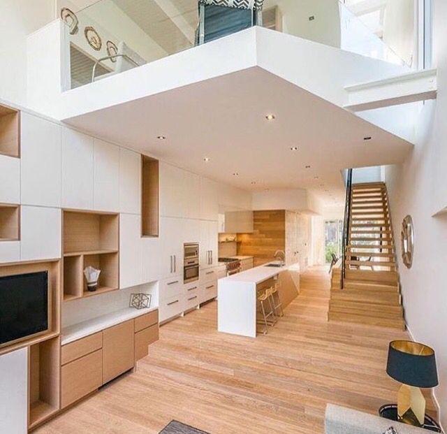 Decoración combinando paredes blancas con suelo de madera - decoracion con madera en paredes