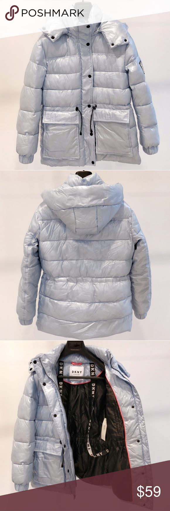 Dkny Hooded Puffer Jacket Light Blue Size S Nwt Clothes Design Jackets Jackets For Women [ 1740 x 580 Pixel ]