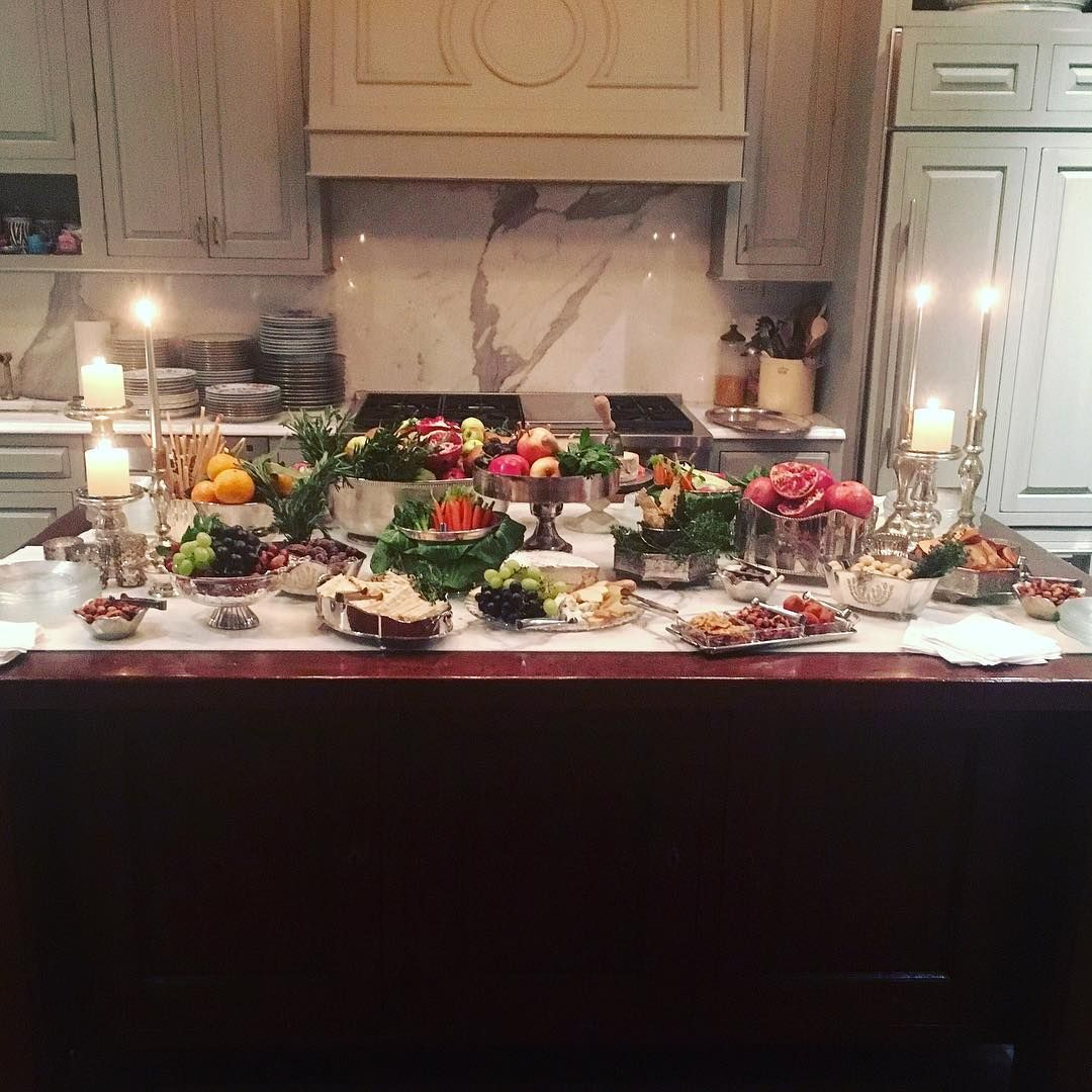 Kitchen Island Used For A Buffet Table