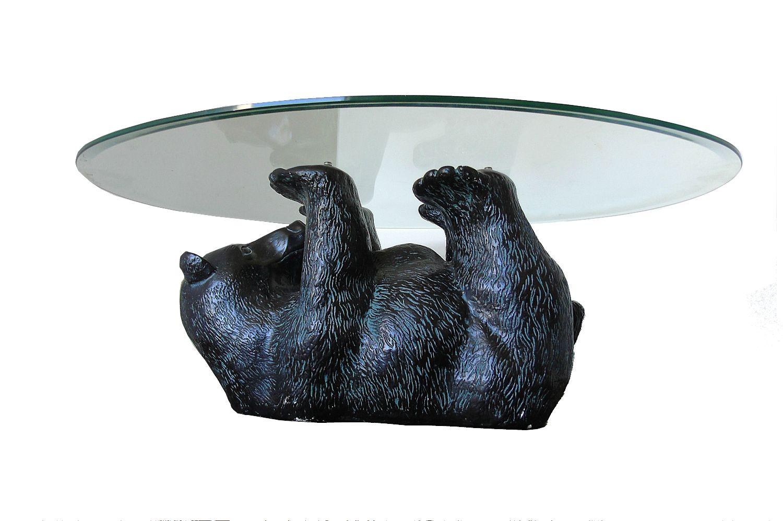 Unique Sculptural Black Bear Coffee Table 1970s
