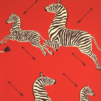 Color Guide How To Work With Red Zebra Wallpaper Eclectic Wallpaper Red Wallpaper