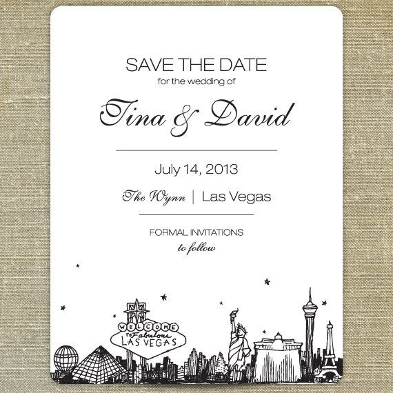 Save the Date Las Vegas Skyline SAMPLE ONLY on Etsy, $5.00