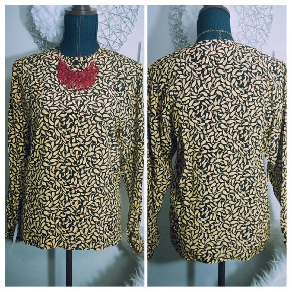 """NWT VintageEleanor P. Brenner 100%SilkTop *This brand new top is unique and classy!  It comes from the specialty store Bullocks Wilshire.  It has a beautiful design that is yellow and black with red dots.  It's made of 100% silk.  It is collarless with long sleeves.  The size just says """"Petite"""" but fits like a small.  Feel free to make an offer!* Eleanor P. Brenner Tops Blouses"""