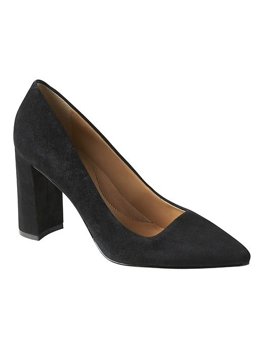 10b1115a0bf Banana Republic Womens Madison 12-Hour Block-Heel Pump Black Suede