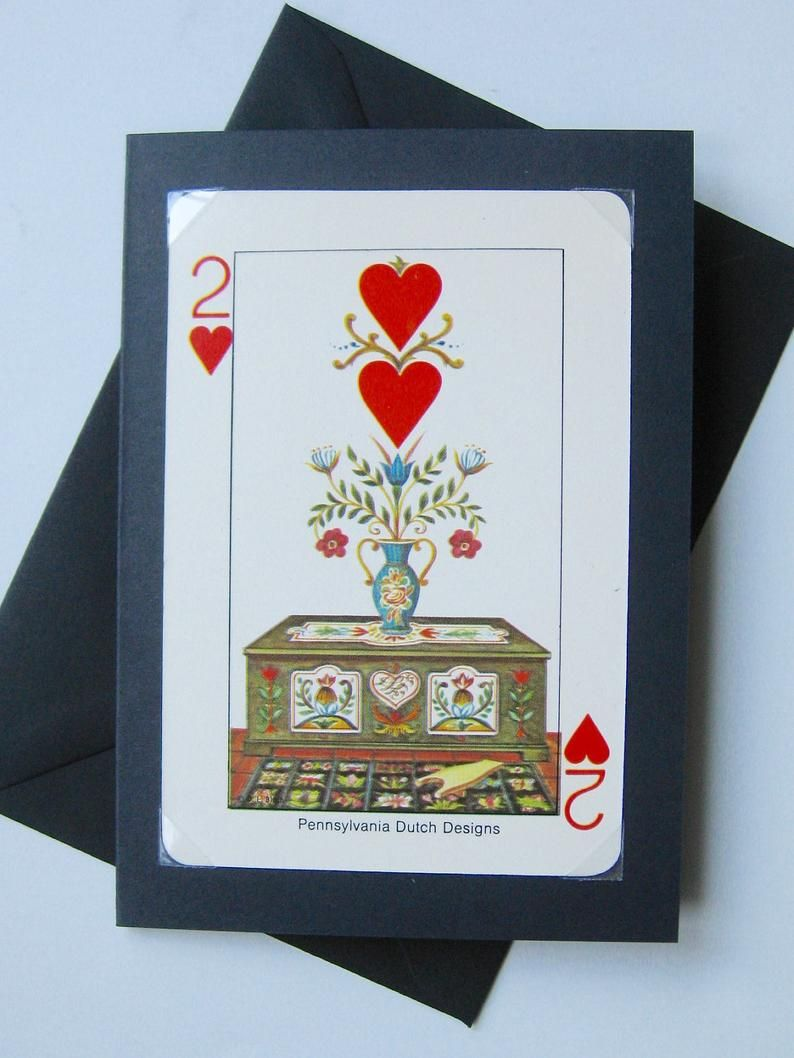 Unique valentine card made with a rare vintage playing