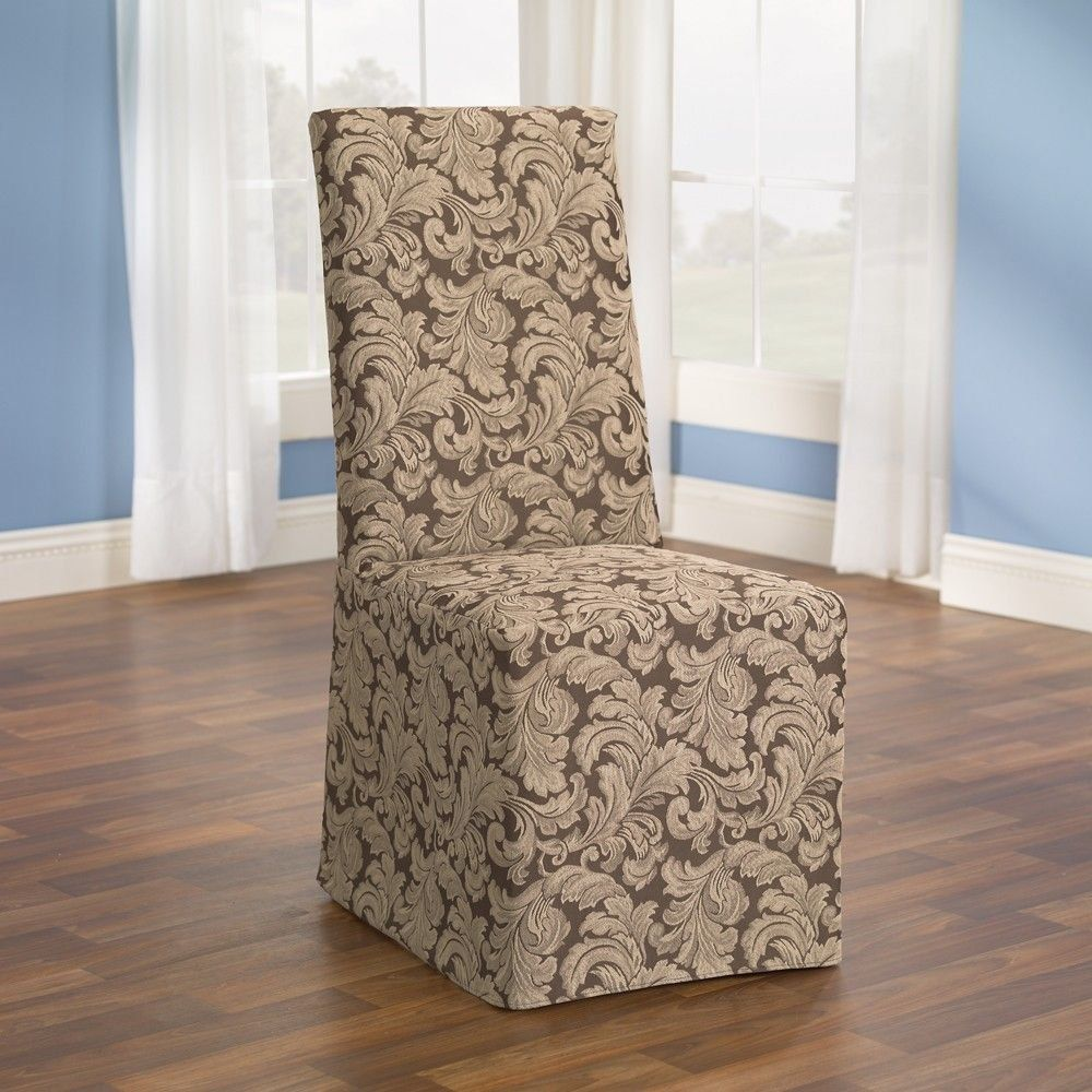 Dining Room Chair Covers By Using A Floral Motif In Brown