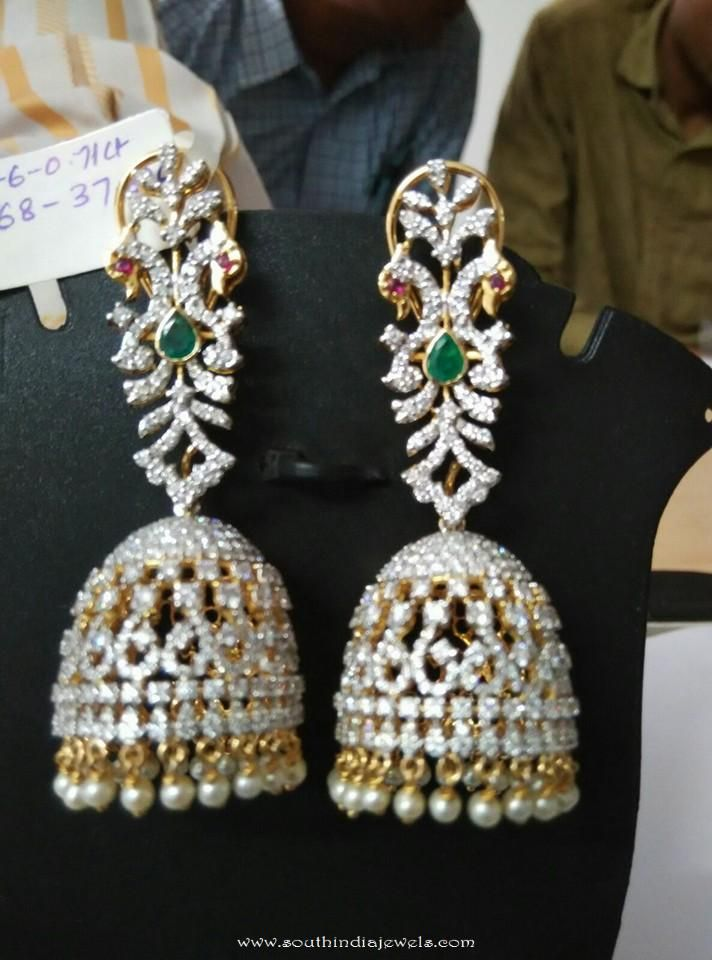 product bridal diamond floral front jhumka water bali earrings back chandbali designer