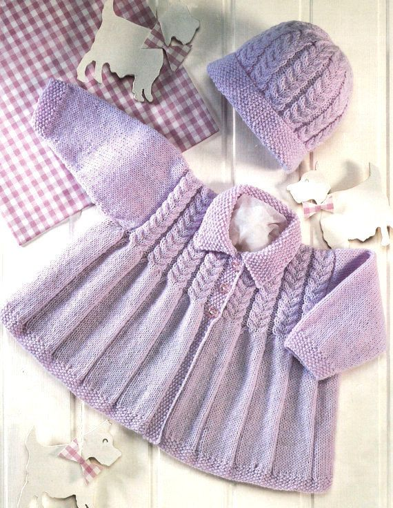 deab06c51 1.99 GBP - Baby Matinee Coat With Collar And Pull On Hat 16 - 22
