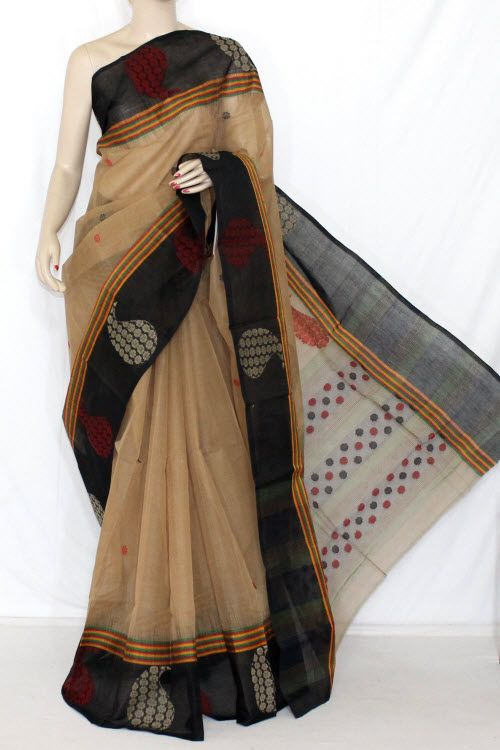 612b737f0b Fawn Black Handwoven Bengali Tant Cotton Saree (Without Blouse) 14230