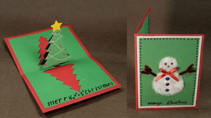 Weihnachtskarte Selbst Gestalten 42 Aufregende Ideen Fur Tuftler Diy Christmas Cards Pop Up Christmas Cards Christmas Tree Cards