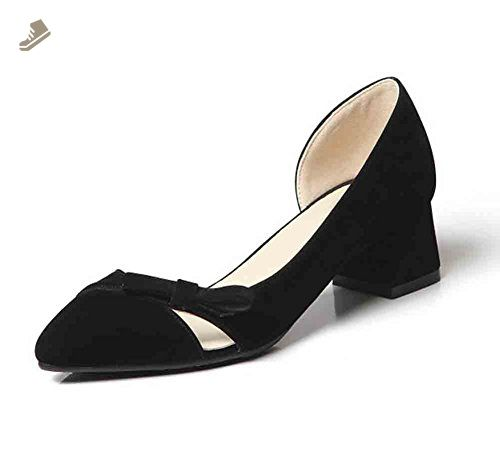 6a5107de7bb6 Sfnld Women s Vogue Pointed Toe Bowknot Slip On Low Block Heels Pumps Shoes  Black 6 B