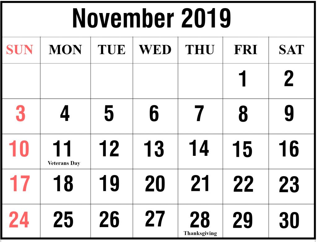 Free Blank November 2019 Calendar Printable In Pdf Word Excel Printable Calendar Diy Calendar Word Calendar Template December Calendar