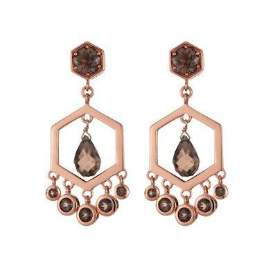 7a0c776ce Daisy Sahara Rose Gold Plated Smoky Quartz Chandelier Earrings | The ...